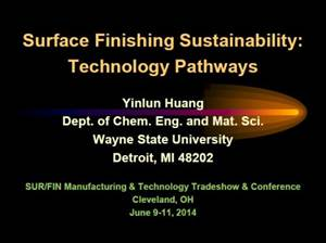 Surface Finishing Sustainability: Technology Pathways - The 51st William Blum Lecture