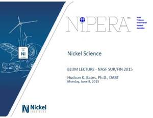 Nickel: Science, Health and the Future - The 52nd William Blum Lecture
