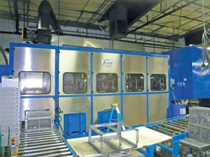 The facility produces high volumes of parts, which require special racking and fixturing for effective cleaning.