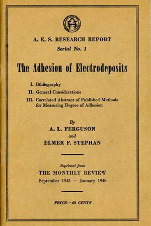 AES Research Project 3, Adhesion of Electrodeposits, Prologue