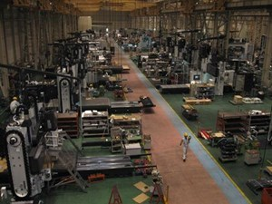 Dual-column machining centers being produced at Okuma's production facility in Kani, Japan.