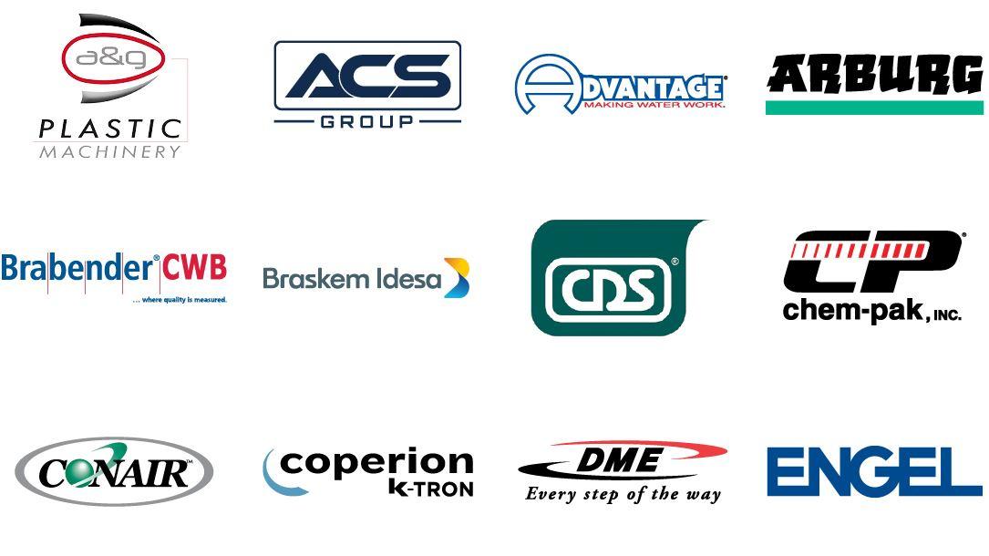 A&G Plastics, ACS Group, Advantage Engineering, Arburg, Brabender Instruments, Braskem Idesa, CDS, Chem-Pack, Conair, Coperion K-Tron, DME, Engel Austria
