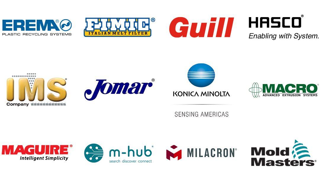 Erema Engineering, FIMIC, Guill Tool & Engineering, Hasco Normalien México, IMS Industrial Molding Supplies, Jomar Corporation, Konica Minolta, Macro Engineering & Technology, Maguire, m-hub, Milacron Mexicana, Moldmasters