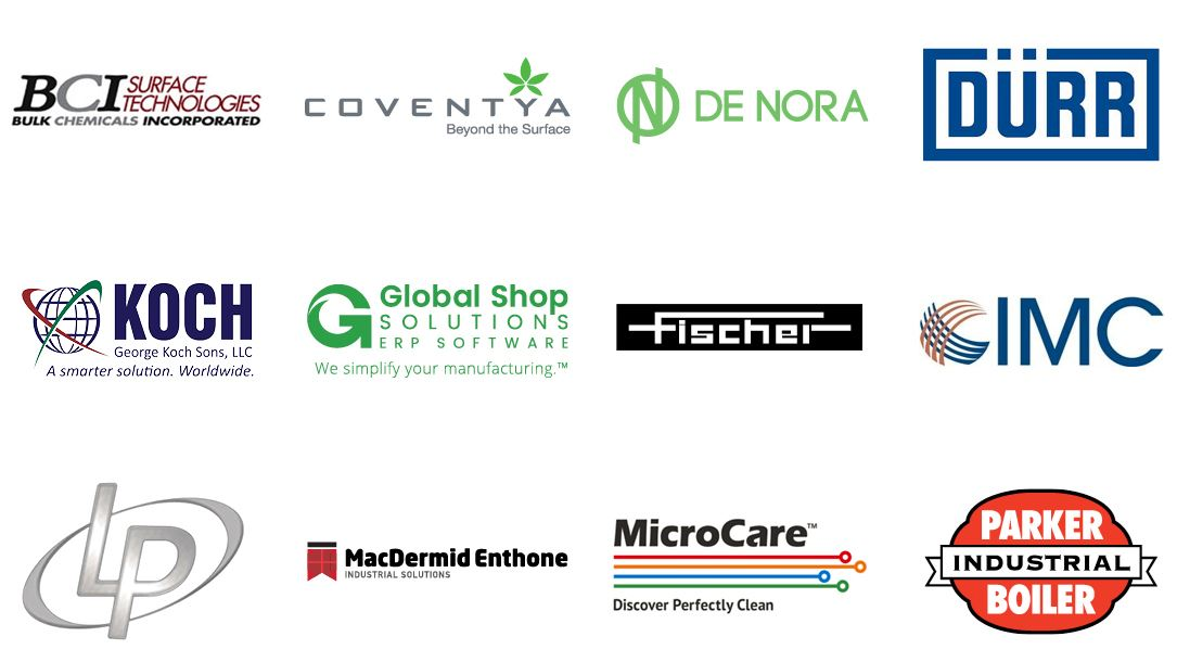 BCI Surface, Coventya México, De Nora Tech, Durr de México, George Koch Sons, Global Shop Solutions, Helmut Fischer, IMC, ITW Air Management, Link Plating, MacDermide Enthone, MicroCare Corporation