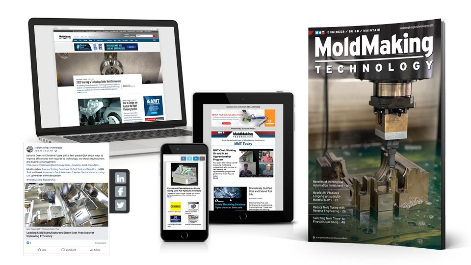 Collection of MoldMaking Technology media on various mediums.