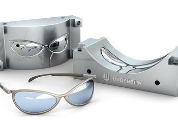 Sunglasses mold made with Uddeholm steel and a pair of sunglasses.