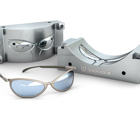 Sunglasses mold made with Uddeholmsteel and a pair of sunglasses.