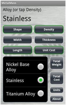 Free Android App Estimates Metals Weight and Cost