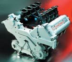 single water exit, carbon fiber injector trumpets, and revised styling of GM Racing's new IRL motor