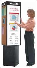 Rotating bulletin kiosk tower