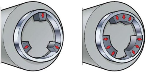 favor chuck jaws that distribute clamping force around the largest part of the diameter as possible in hard turning.
