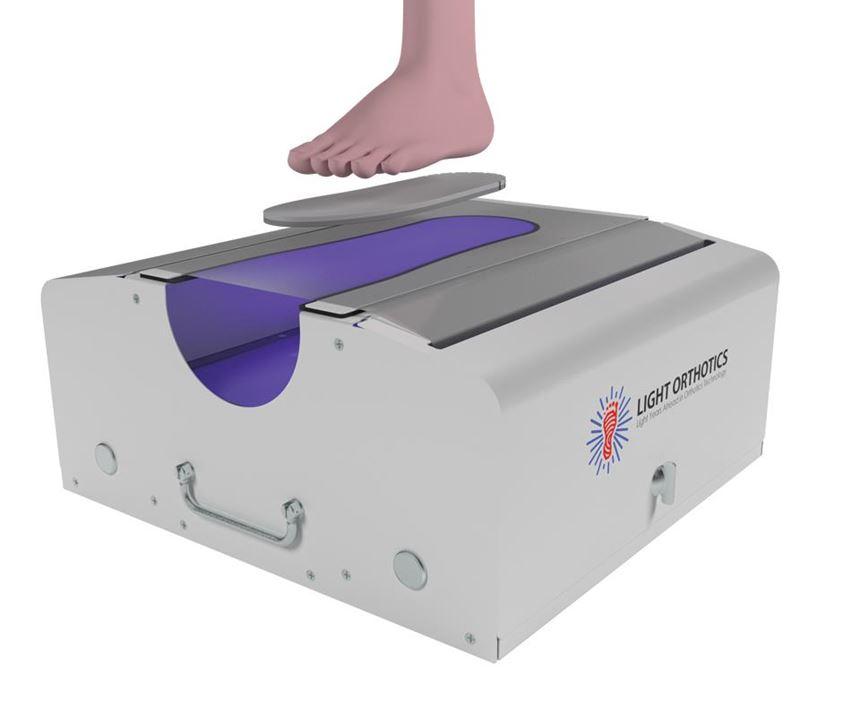 custom-fitting of foot aid via UV curing