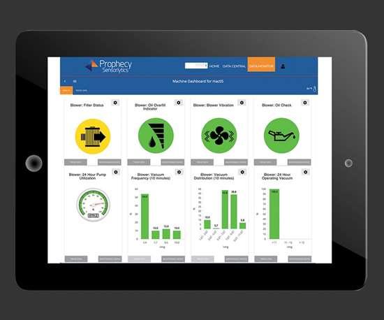 smart device displaying PumpSense dashboard screen from MachineSense