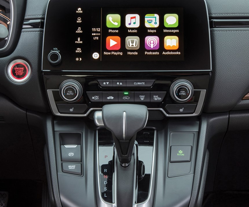 The vehicle is available with a suite of sensor-based safety systems as well as Apple CarPlay (and Android Auto).