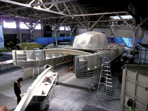 Partially completed hull and dome