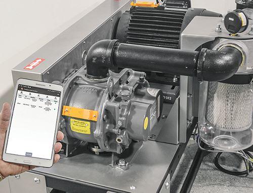 Los sensores montados en la máquina (amarillo) reúnen los datos de temperatura y vibración del ventilador en tiempo real.