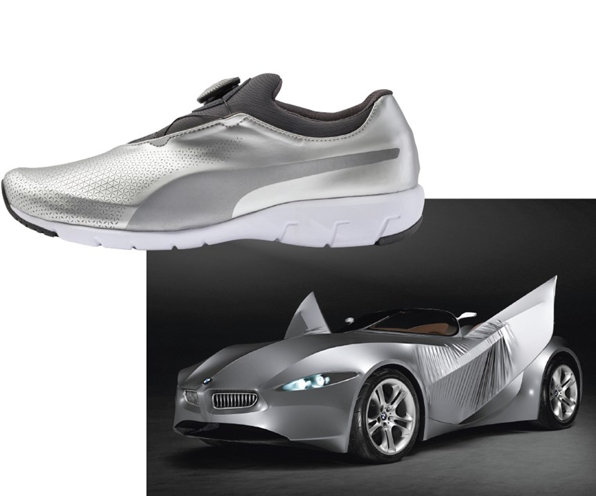 One of the benefits for BMW of having something like Designworks is that because the company develops an array of products—yes, including running shoes—the thinking that goes into those other products has potential within the creation of new cars. (Interestingly, this shoe, the Puma X-CAT DISC, has material that is influenced by a 2008 BMW concept vehicle, the GINA Lightweight Visionary Model.
