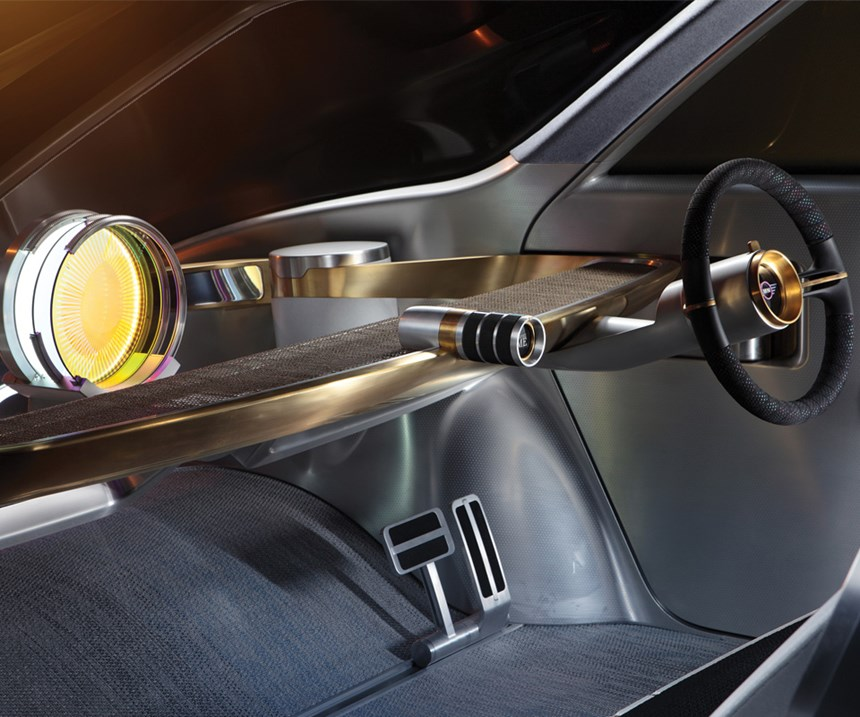 One of the BMW Group brands is MINI. For its VISION NEXT 100 concept, the vehicle is executed from the standpoint of it being a model that is used in car-sharing, yet which allows individual personalization. Note the interior execution is not typical of today. Oliver Heilmer suggests that autonomy will have an added effect on interior design, as well.