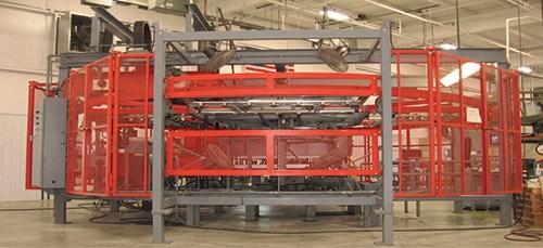 Las máquinas se colocan sobre bandas en el suelo.