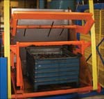 A double-acting tote box dumper