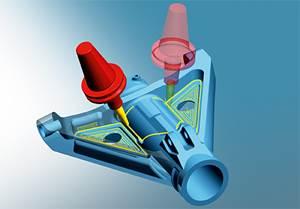 Un componente de un asiento para la industria aeroespacial se manufactura en el nuevo centro de mecanizado de cinco ejes de Cobalt.