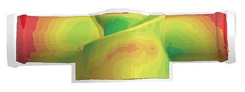Alabeo predicho mediante el cálculo de la temperatura del molde durante varios ciclos con Sigmasoft Virtual Molding.
