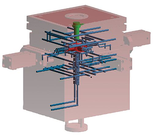 Todos los componentes del molde relevantes para la transferencia de calor se incluyen en la simulación.