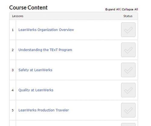 screenshot of lesson topics