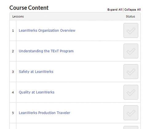 screenshot of lesson topics
