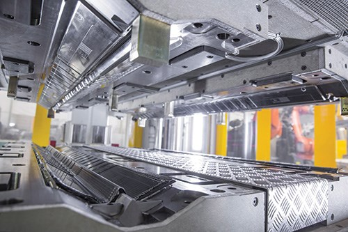 Tooling for CFRP in the BMW Dingolfing plant, where the 7 Series is produced.