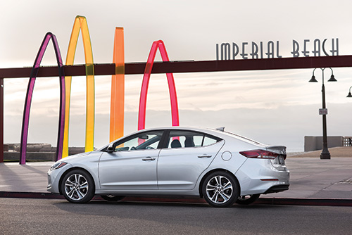 """The 2017 Hyundai Elantra is the sixth generation of the compact car. It is designed and engineered to compete with products including the Toyota Corolla, Honda Civic, Mazda3 and more. Scott Margason, Hyundai Motor America, director, Product Planning, says that they take a """"class-above"""" approach to development of vehicles, so he notes that while the 2017 Elantra offers 95.8-ft3 of passenger room and 14.4-ft3 of cargo space, the 2016 Audi A4 provides only 91- and 12-ft3, respectively."""