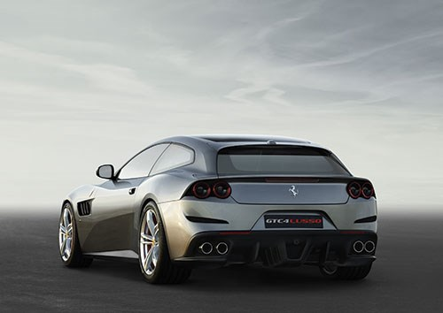 The GTC4Lusso is powered by a V12. According to Ferrari, it goes from 0 to 62 mph in 3.4 seconds and has a top speed of 208 mph. It has four-wheel drive, four-wheel steering, and it seats . . . four.