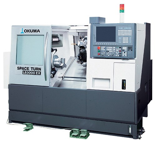 An Okuma LB3000 turning center. The use of high-pressure coolant on equipment like this can greatly increase  productivity in turning operations.