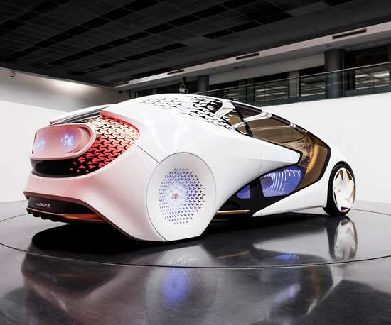 The Toyota Calty notion of what a car in 2030 could look like. While it has autonomous capabilities, actual driving is still part of the Concept-i experience.