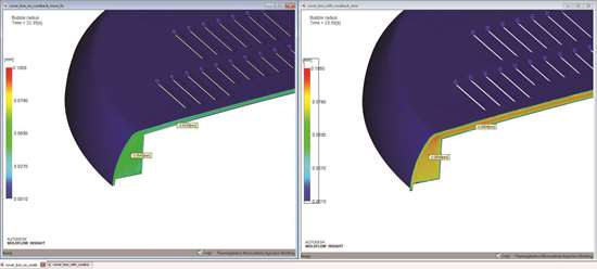 This screenshot from Autodesk Moldflow 2017 shows that the larger gas bubble sizes in microcellular injection molding with coreback (right) provide significant weight savings over the smaller bubbles in microcellular molding without coreback (left).