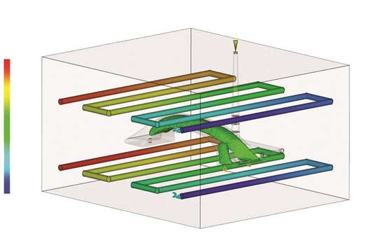 Here, Autodesk Moldflow 2017 shows a cooling analysis of gas assisted injection molding with the gas core results overlaid with coolant circuit temperature results.