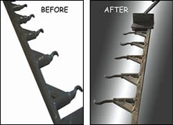 Powder coating rack before and after