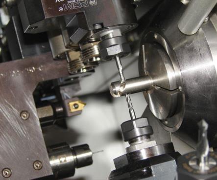 Close up of pinch mill on a swiss-type machine