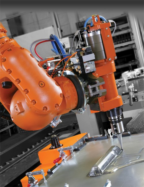 A six-axis, articulated industrial robot