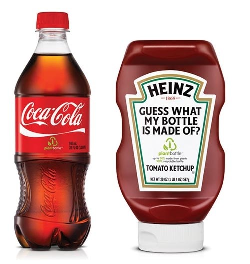Heinz ketchup bottle made of biobased PET using Coca-Cola's PlantBottle technology
