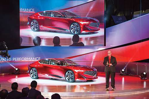 Dave Marek, Acura global creative director, debuting the Acura Precision Concept at the 2016 North American International Auto Show. It is a direction for where they're going to be taking Acura design, not simply a singular vehicle.