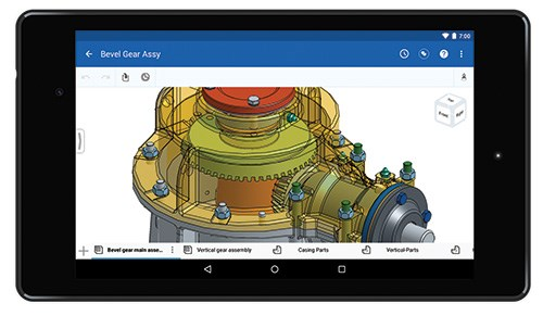Onshape provides full CAD modeling capabilities—not just view and markup—on any web browser, tablet, or cellphone, such as this Android Nexus 7 smartphone.