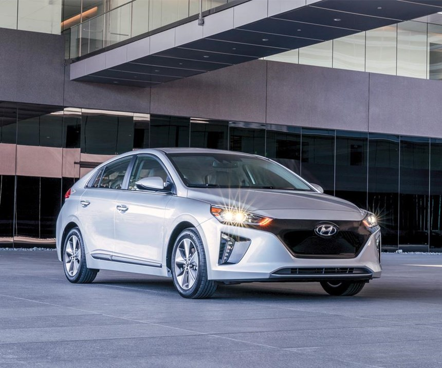 The Ioniq Electric—like the Hybrid and the Plug-in models—has a coefficient of drag of 0.24. Contributors include front wheel air curtains, rear spoiler and diffuser and a bottom cover.