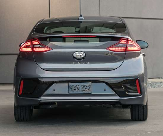 The Ioniq comes in two hybrid variants. One is a regular gas-electric hybrid and the other a plug-in. Both have a 1.6-liter, direct-injected, Atkinson-cycle four-cylinder engine, but the plug-in has a 45 kW (60 hp) motor and an 8.9 kWh battery pack that results in an all-electric range of approximately 27 miles.