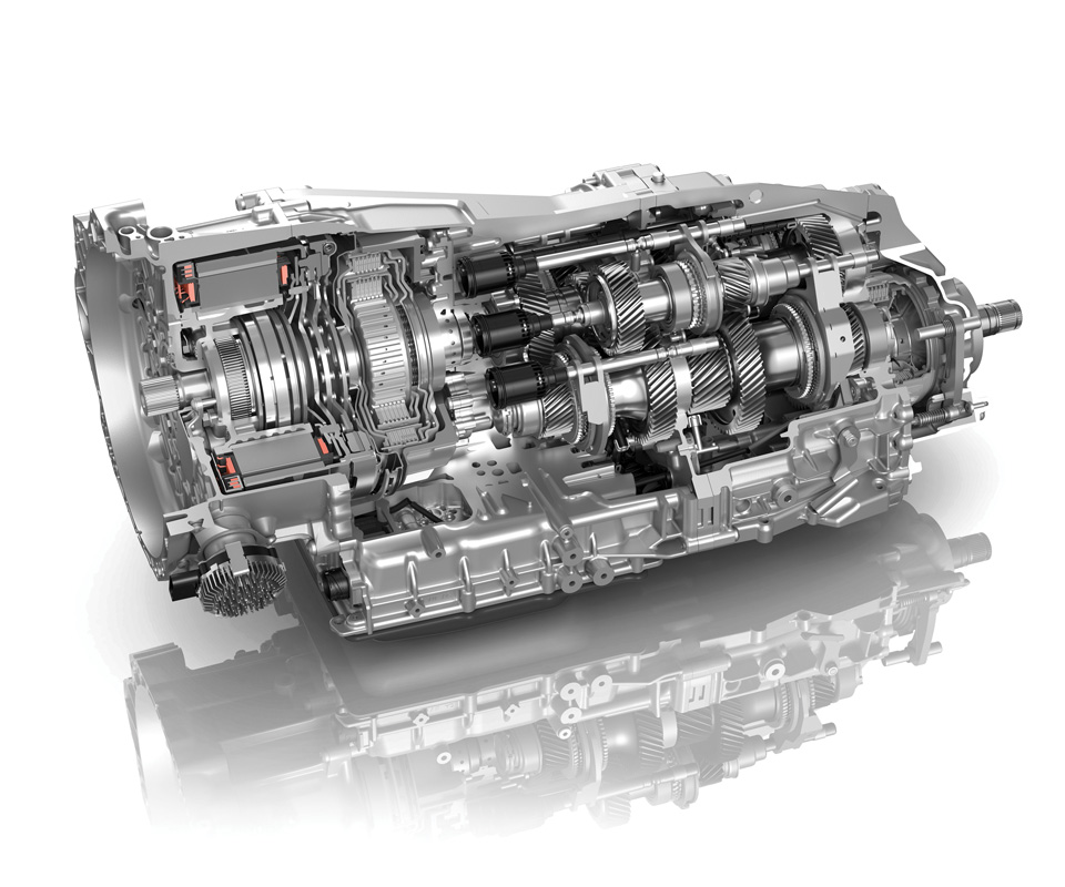 The ZF 8DT dual-clutch transmission. A modular design means it can be used in a variety of setups, including for electrified vehicle operations.