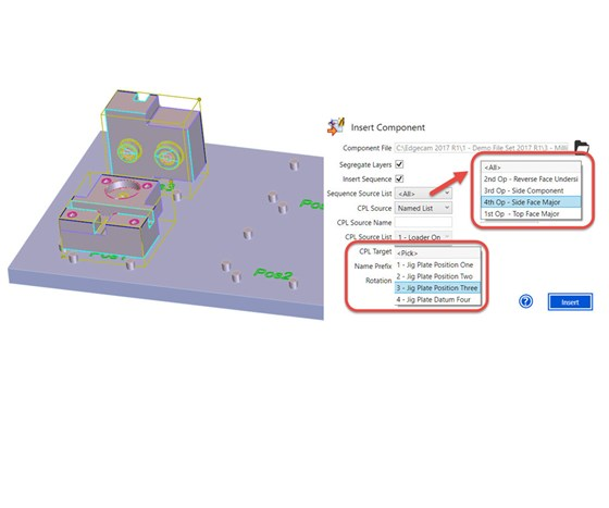 In Edgecam 2017 R1, a dialog box lets users add pre-machined part files and specify where those parts are to be mounted on a multi-component work-holding device.