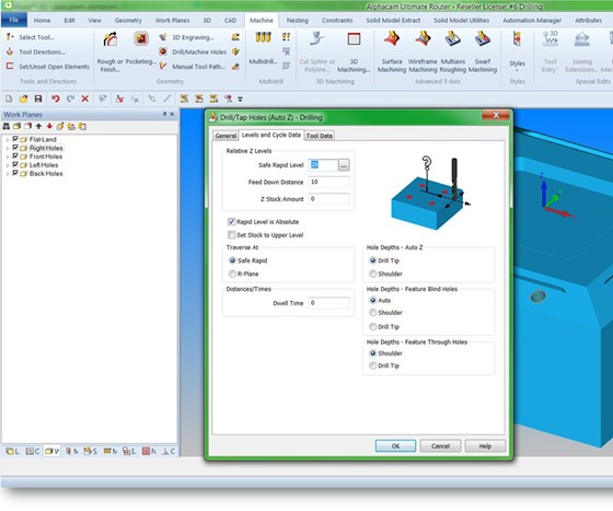 In Alphacam 2017 R1, new depth control settings for the tip angle of the tool and the cone angle of the hole let machinists drill the actual holes identified from automated feature extraction.
