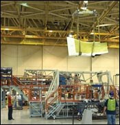 Assembly of the first production F-35A Lightning II fighter
