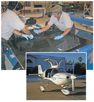 Liberty Technicians lay up carbon/epoxy prepreg for a Liberty XL-2 two-seat, piston-powered aircraft.