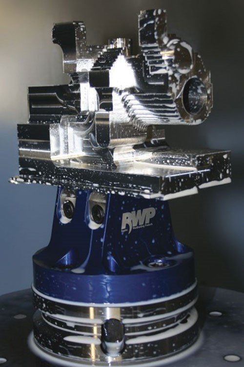 RWP-001 dovetail fixture with rough machined workpiece.